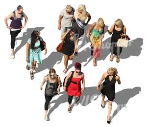 group of walking women seen from above