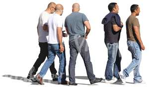 five men in jeans walking
