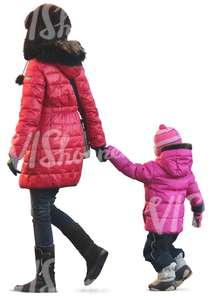 mother and daughter walking in winter