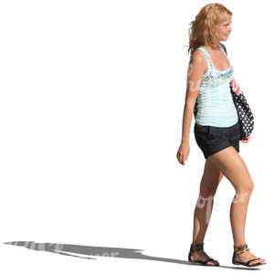 woman in shorts walking