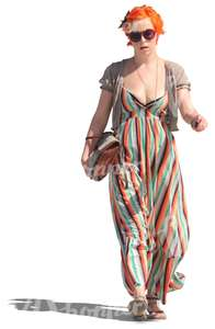 woman in a maxi dress walking