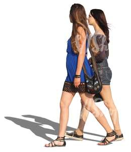 two long-haired women walking