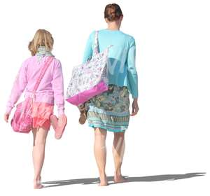 mother and daughter walking barefoot