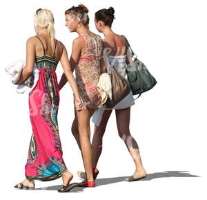 three women walking in resort