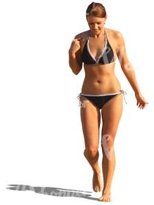 woman in a bikini walking