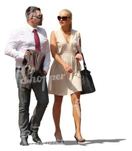 couple in formal clothes walking