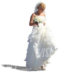 bride in a long white wedding gown