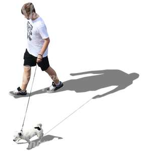 man walking a dog seen from above