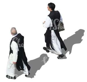 two monks walking seen from above