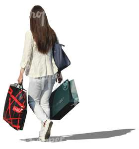 long-haired woman shopping