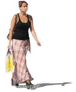 woman in a long skirt shopping
