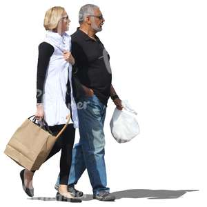 couple with shopping bags walking together