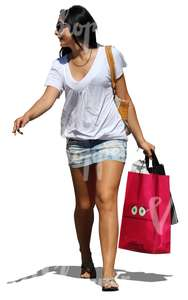 woman carrying many shopping bags