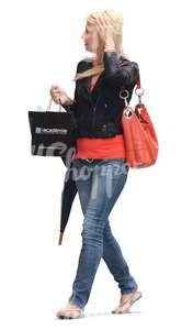 woman with an umbrella and shopping bags
