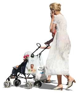 woman in a white dress pushing a stroller