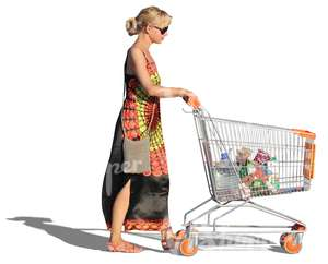 woman in a long dress pushing a shopping cart