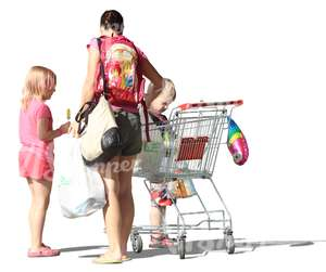 woman and two children standing with a shopping cart