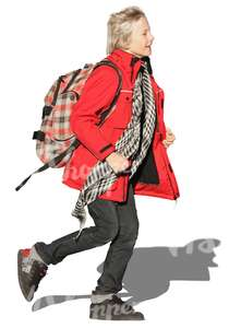 cut out boy with a schoolbag running