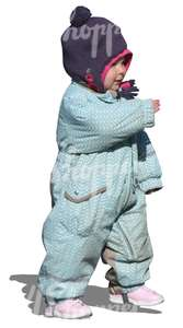 cut out child in a blue onsie walking