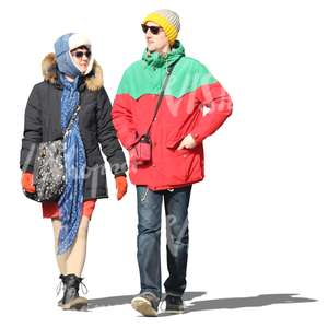 cut out colorful couple walking