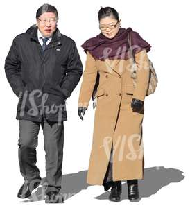 cut out asian couple walking in wintertime