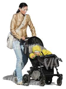 cut out woman pushing a baby stroller