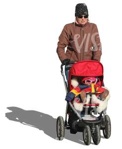 cut out woman pushing a stroller