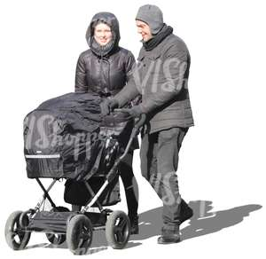 man and woman pushing a baby carriage