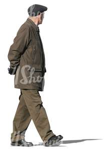 man with a brown winter jacket walking