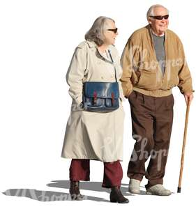 cut out elderly couple walking and talking