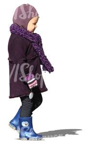 cut out girl in a purple winter coat walking