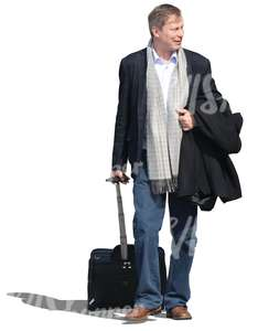 travelling man pulling a suitcase