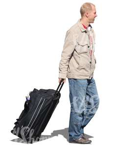 man travelling with a big suitcase