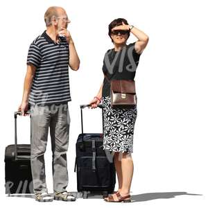 couple with suitcases standing and looking