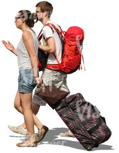 travelling couple with huge bags