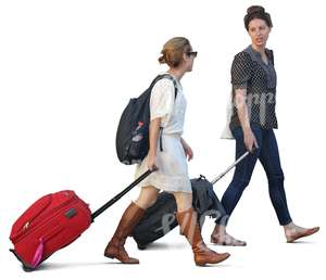 two women with suitcases walking and talking