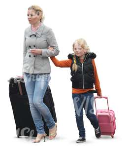 woman and a girl walking with suitcases