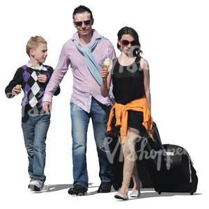 cut out family travelling with suitcases