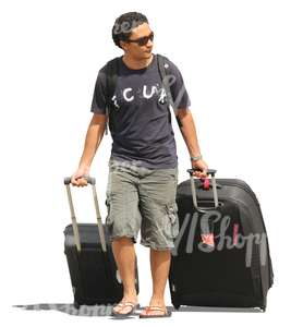 cut out man puling two suitcases