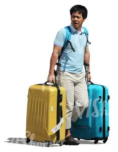 cut out asian man with two suitcases