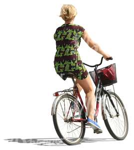 blond woman riding a bike