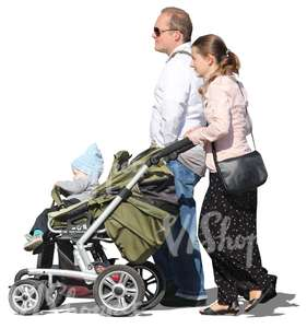 cut out couple pushing a baby carriage