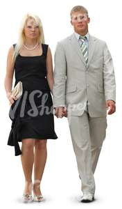 cut out fancy couple walking hand in hand