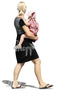 cut out woman carrying a small girl