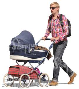 cut out man pushing a baby carriage