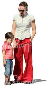 cut out woman standing with her son