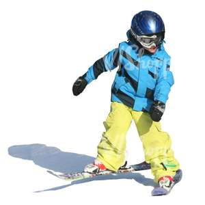 cut out boy with helmet alpine skiing