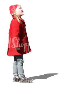 cut out girl in a red coat standing