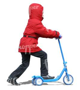 cut out girl in a red jacket riding a scooter