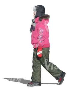 cut out girl in winter clothes walking